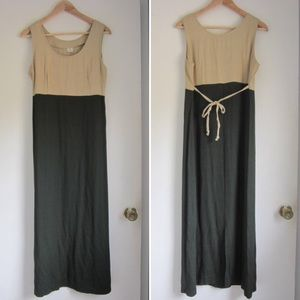 vintage market dress two tone colorblock green